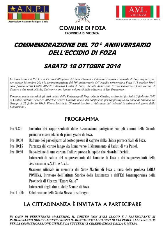 Manifesto commemorazione di Foza 2014