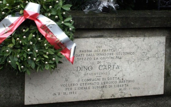 Lapide a Dino Carta, in via Calderari a Vicenza