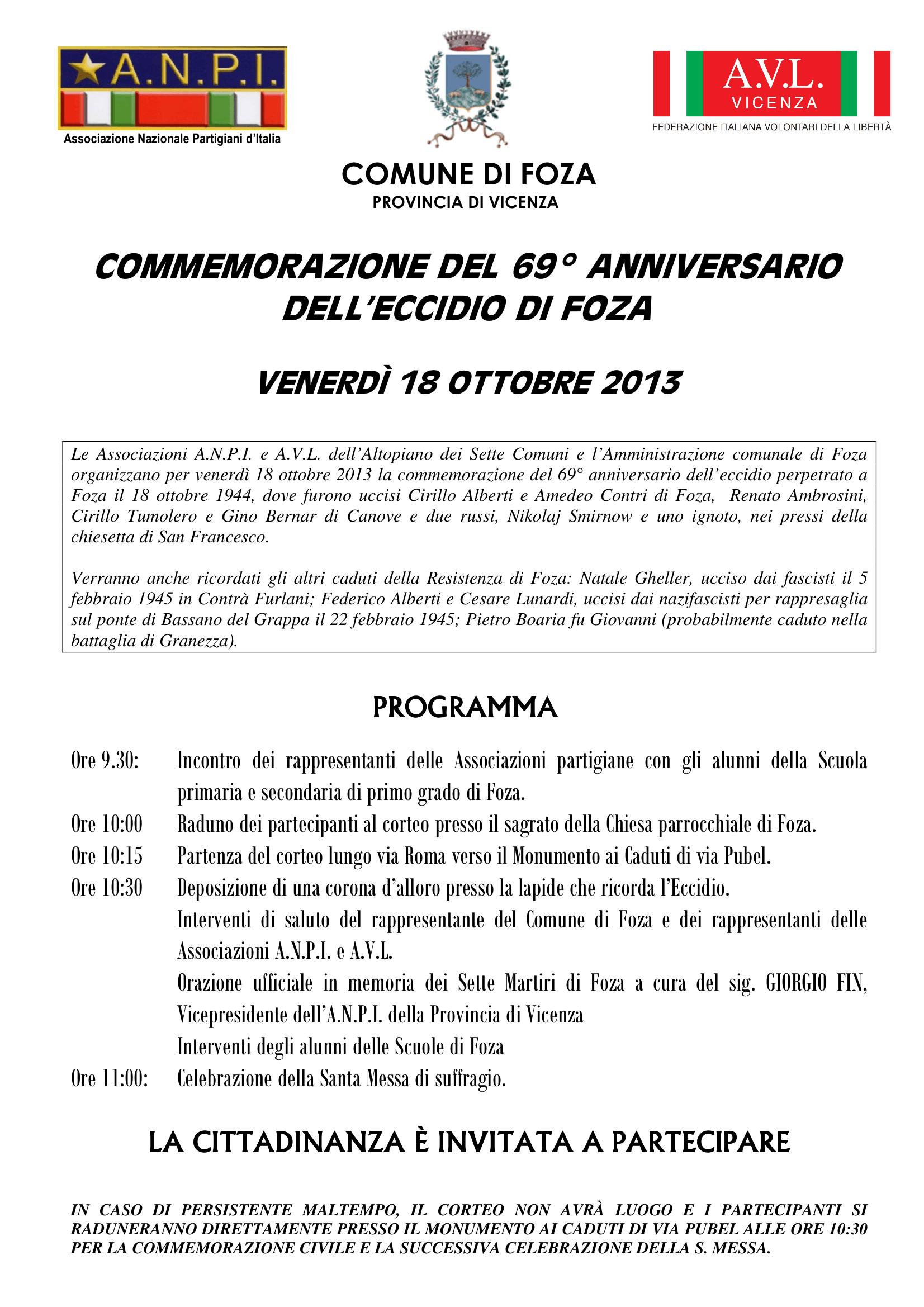Manifesto Foza 2013