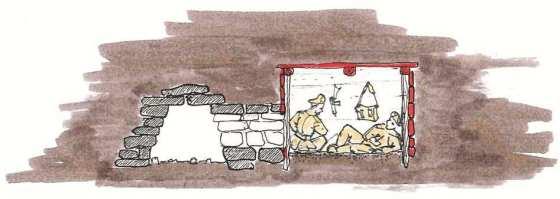 Disegno del rifugio della missione Dardo